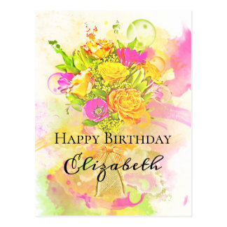 Cartão Postal Buquê da flor da aguarela do aniversário