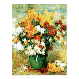 Cartão Postal Buquê de Pierre-Auguste Renoir dos crisântemos