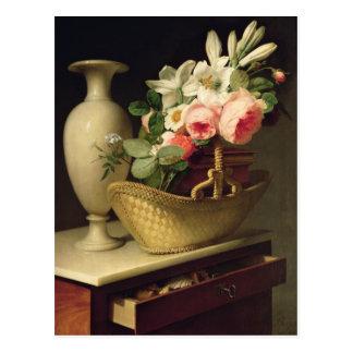 Cartão Postal Buquê dos lírios e dos rosas em uma cesta, 1814