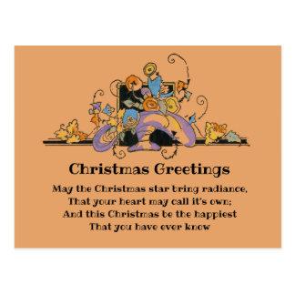 Cartão Postal Buquê floral do Natal do pêssego do Victorian do