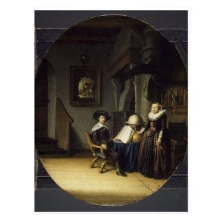Cartão Postal Burgomaster Hasselaar e sua esposa por Gerrit Dou
