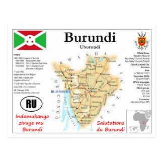 Cartão Postal Burundi Map Postcard