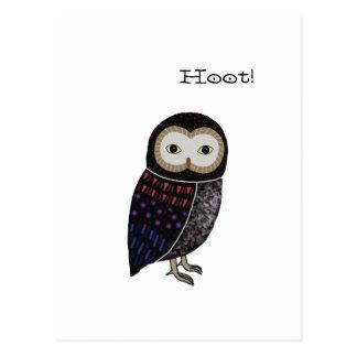 Cartão Postal Buzina bonito da coruja de Screech da ilustração