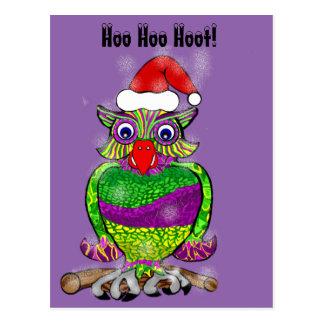 Cartão Postal Buzina da coruja do Natal do papai noel