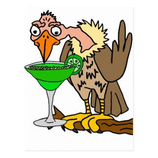 Cartão Postal Buzzard ou abutre engraçado que bebem Margarita