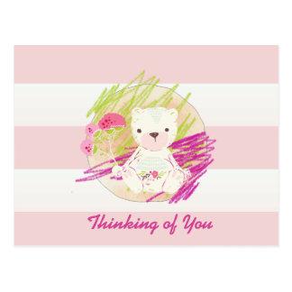 Cartão Postal Cabana cor-de-rosa urso de ursinho listrado do