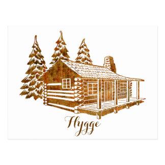 Cartão Postal Cabana rústica de madeira Cosy - Hygge ou seu