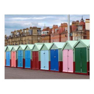 Cartão Postal Cabanas coloridas da praia, Brigghton e praia