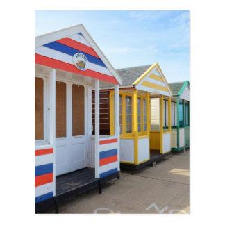 Cartão Postal Cabanas da praia em Inglaterra oriental