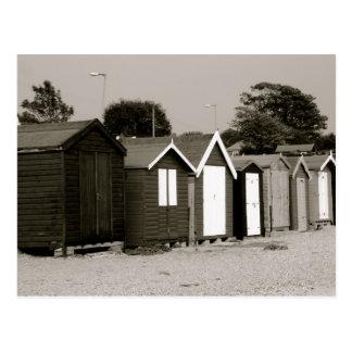 Cartão Postal Cabanas da praia, ilha de Mersea, Essex,