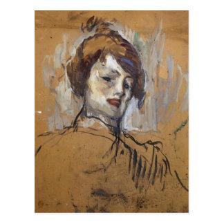 Cartão Postal Cabeça de Henri de Toulouse-Lautrec de uma mulher