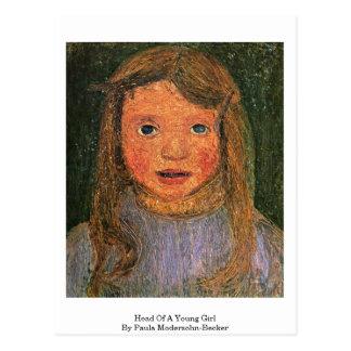 Cartão Postal Cabeça de uma rapariga por Paula Modersohn-Becker