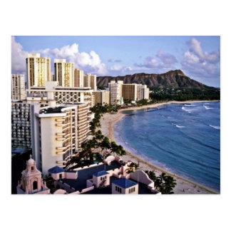 Cartão Postal Cabeça do diamante - praia de Waikiki, Oahu