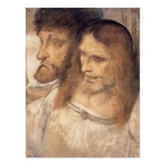 Cartão Postal Cabeças de Sts Thomas e James por Leonardo Vinci