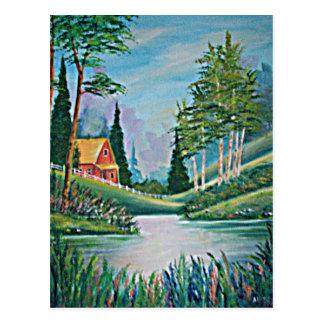 Cartão Postal Cabine pela pintura a óleo do córrego