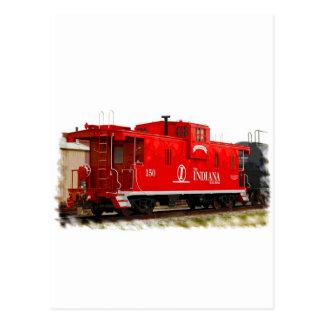 Cartão Postal Caboose vermelho brilhante