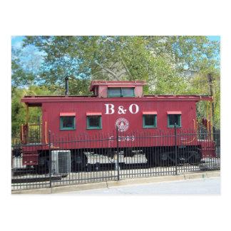 Cartão Postal Caboose vermelho.  Cidade de Ellicott, DM
