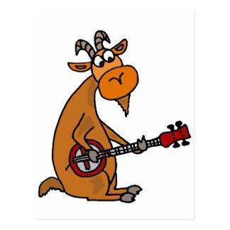 Cartão Postal Cabra engraçada que joga a arte do banjo