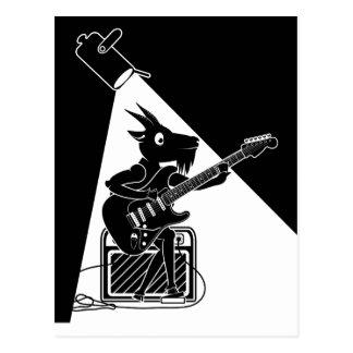 Cartão Postal Cabra preto e branco que joga a guitarra