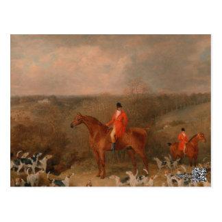 Cartão Postal Caça com cães e pintura a óleo famosa do cavalo