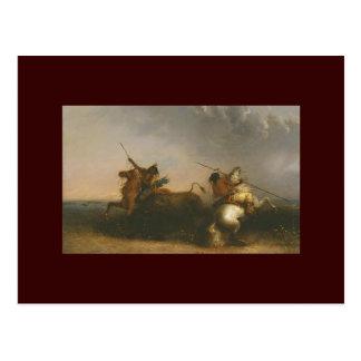 Cartão Postal Caça do búfalo por Alfred Jacob Miller