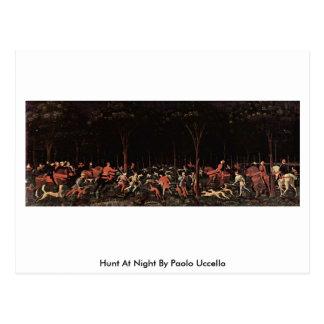 Cartão Postal Caça na noite por Paolo Uccello
