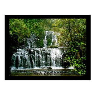 Cartão Postal Cachoeira de Nova Zelândia - quedas de Purakaunui