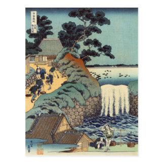 Cartão Postal Cachoeira do gaok de Aoi, Katsushika Hokusai