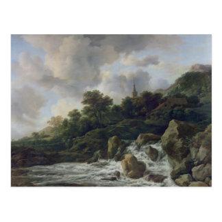 Cartão Postal Cachoeira perto de uma vila, c.1665-70
