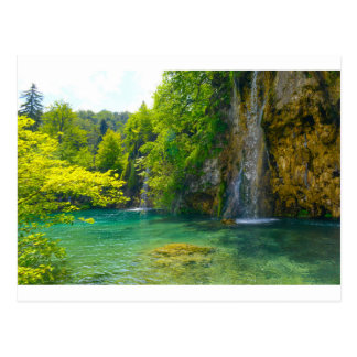 Cartão Postal Cachoeiras no parque nacional de Plitvice em