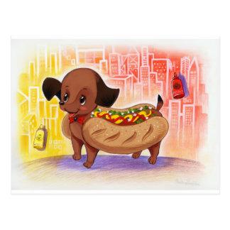 Cartão Postal Cachorro quente no bonito Kitschy da cidade