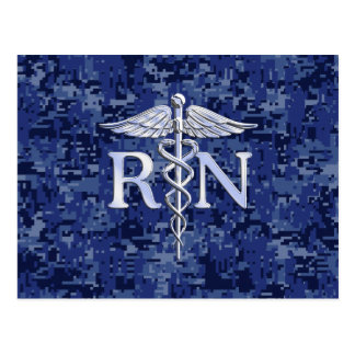 Cartão Postal Caduceus de prata do RN da enfermeira diplomada no