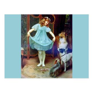 Cartão Postal Cães de estimação novos do Collie do vestido da