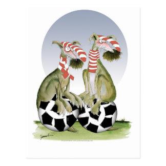 Cartão Postal cães do futebol dos vermelhos quando sábado vier