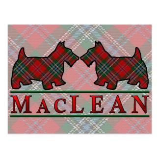 Cartão Postal Cães do Scottie do Tartan de MacLean do clã