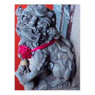 Cartão Postal Cães do templo como guardiães