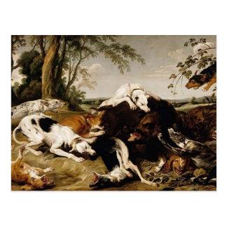 Cartão Postal Cães que trazem abaixo de um varrão por Frans