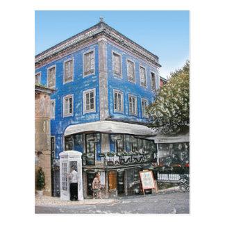 Cartão Postal Café azul no canto