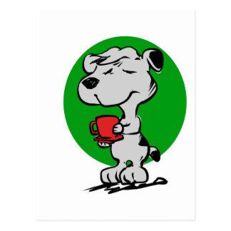 Cartão Postal Café do bebendo do cão