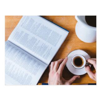 Cartão Postal Café e um livro; Domingo preguiçoso