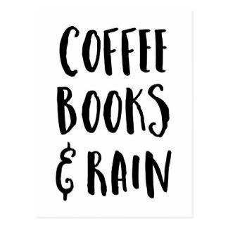 Cartão Postal Café, livros & citações da chuva