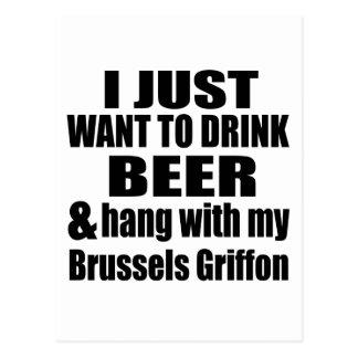 Cartão Postal Cair com meu Bruxelas Griffon