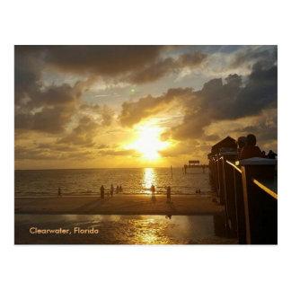 Cartão Postal Cais de Clearwater no por do sol