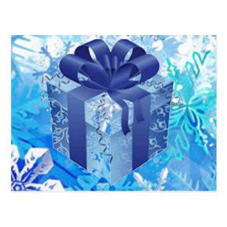 Cartão Postal Caixa de presente azul com fita azul