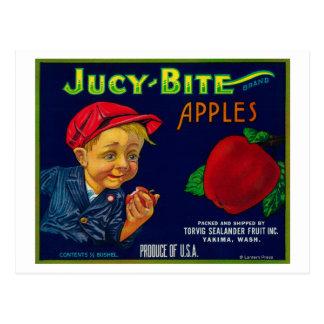 Cartão Postal Caixa LabelYakima de Apple da mordida de Jucy, WA