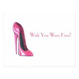 Cartão Postal calçados cor-de-rosa do estilete