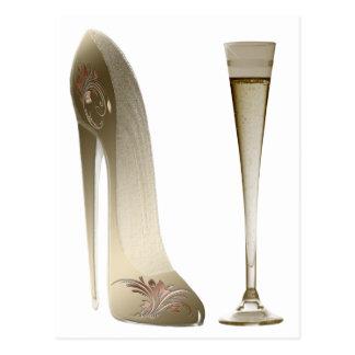 Cartão Postal Calçados do estilete do Sepia e celebração