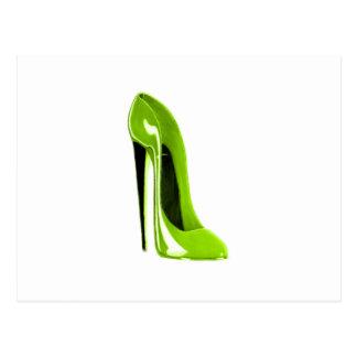 Cartão Postal Calçados do estilete do verde limão