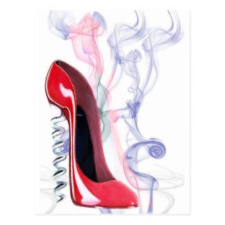Cartão Postal Calçados vermelhos do estilete do Corkscrew