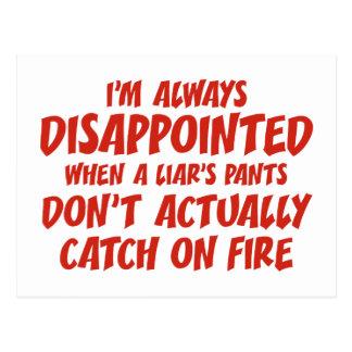 Cartão Postal Calças do mentiroso do mentiroso no fogo